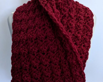 Handmade Scarf Rich Burgundy Red Cowl Scarf Double Thick - Ready to Ship & On Sale Now!