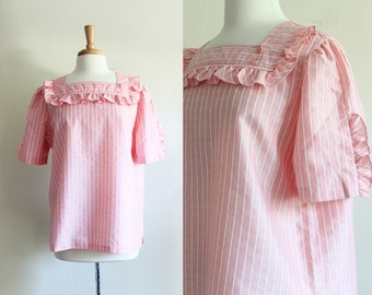 Vintage 1970s Pink Stripe Ruffle Trim Top