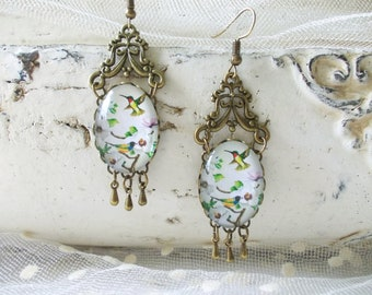 Birds and flowers cabochon dangle earrings...  vintage bronze dangle earrings, glass dome earrings, stud earrings with cabochon