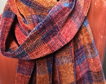 Handwoven Chenille Plaid Scarf Red Copper Grays, Fitch Studio Weavers Plaid Chenille Scarf