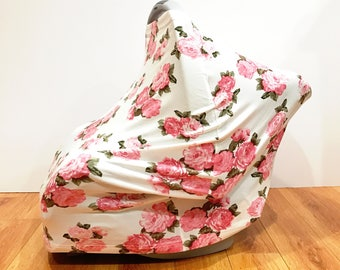 """Infant Baby Stretchy Multi-Functioning """"Pink Roses"""" Car Seat Cover, Nursing Cover, Cart Cover"""