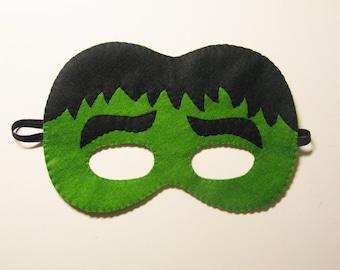 Green Hulk superhero felt mask - childrens comic costume for boys and girls - soft felt Dress Up play - photo prop accessory