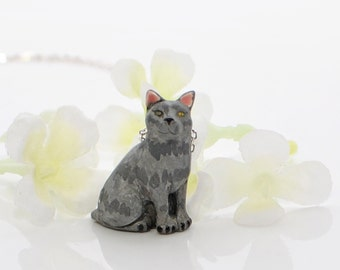Gray Cat Pendant Kitty Necklace Ash - Cat Necklace - Gray Tabby - Cat Jewelry - Cat lover gift - Cat Lover Jewelry -Cute Cat -Cat Lady Gift