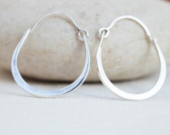Hoop earrings, Dangle hoop earrings, Handcrafted Silver Jewelry, Sterling silver earrings, Delicate hoop earrings, Artisan handmade