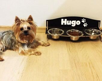 Small triple dog bowl personalized feeding stand high 15 oz bowls