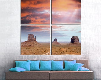 Monument Valley, Utah desert - 4 Panel Split (Quad) Canvas Print. Scenic landscape photography for office wall decor & interior design