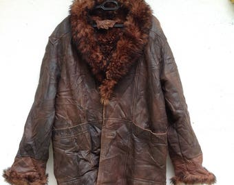 Rare Vintage 70s Styled Unbrand Faux Fur Winter Leather Jacket/Sherpa Jacket
