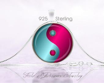 MODERN YIN YANG Pendant Yin Yang Jewelry Yin Yang Necklace Yin Yang Gift Yoga Jewelry Yoga Gift Taoist Necklace Buddhist Turquoise Magenta