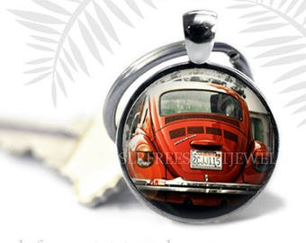 Retro Key Chain, VW Key Chain,  Antique Cars, Red Volkswagen, Men's Accessory, Nostalgia, Hippie Car, Gift for men, Father's Day gift