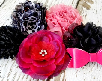 GRAB BAG of Fabric Flower Appliques and Bows - Clearance Applique Assortment for DIY Baby Headband Flowers - Flat Back Crafting Supplies