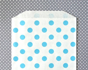 Blue Polka Dot Goody Bags / Favor Bags / Treat Bags (20) - 5 x 7.5 inches