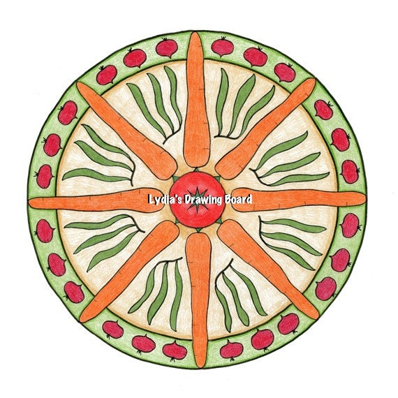 Mandala Art, Mandala Wall Art, Vegetable Print, Vegetable Art, Kitchen Decor, Vegetarian, Peaceful Art, Sacred Geometry Art, Yoga, Mandala