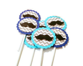Mustache Cupcake Toppers -Set of 20- Little Man Party