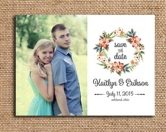 Photo Wedding Save the Date | Engagement Announcement | Printed 5x7 Announcement | Watercolor Wreath