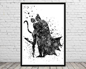 Catwoman and Batman inspired, Print, Marvel, Superhero, Watercolor Art, Kids Room Decor, Poster, Superhero(267b)