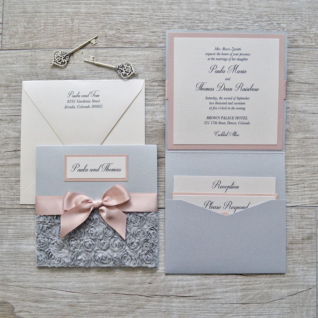PAULA - Silver Rosette Wedding Invitation - Square Folding Pocket ...
