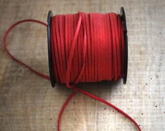 1 m suede red paillete