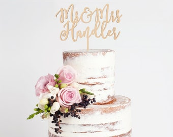 Mr and Mrs Cake Topper, Custom Wedding Cake Topper, Custom Last Name Cake Topper, DIY Cake Topper,  Personalized Wedding Cake Topper