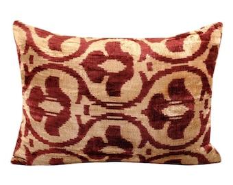Silk Velvet Ikat Pillow Cover VP116, Bohemian pillow, Velvet Ikat Pillow, Velvet Pillow