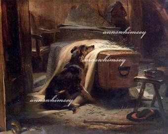 "Dog Mourns Master ""The Old Sheperd's Chief Mourner""  Restored Antique Art, FROM 1882 Restored Dog Art, Sad Art Print #284"
