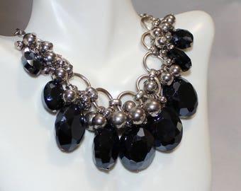 Lovely, Vintage VCLM Black Chunky Beaded Glass Necklace