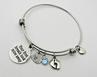 New Mother Bangle Bracelet, Adjustable Bangle, Your First Breath Took Mine Away, Charm Bracelet, Stainless Steel, Gift For The New Mom