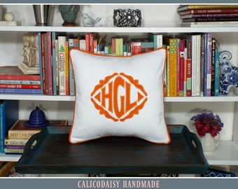 The Veronique Applique Monogrammed Pillow Cover - 16 x 16 square