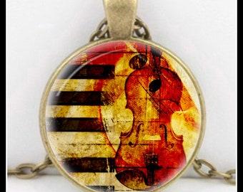 Violin Pendant - Antique Sheet Music - Sheet Music- Music Pendant - Music Necklace - KM-4