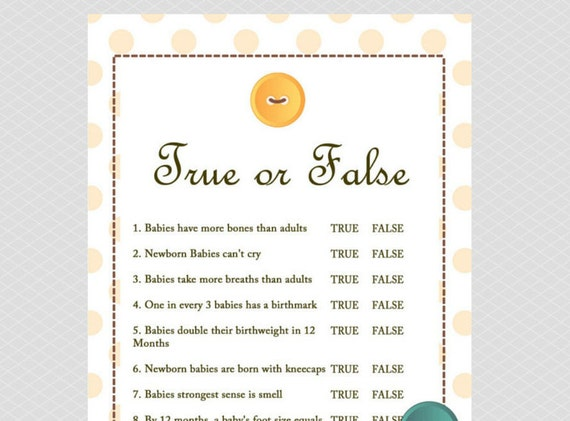 Beautiful True Or False Baby Shower Game Cute As A Button Baby Shower