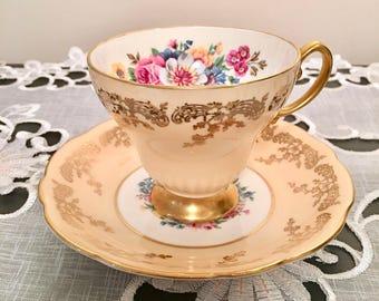 Vintage  E. B. Foley Teacup and Saucer #4615 #4  - Bone China gold brushed filigree and floral 1950s