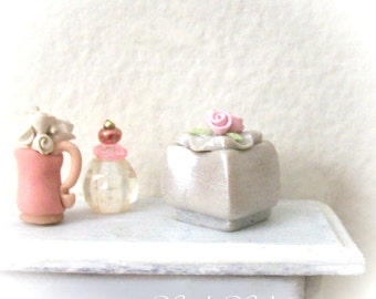 Miniature Fancy Vanity Box Pretty Pink Rose Lid Unique Functional Pearly Silver Artisan Sculpted Box 1:12 Scale Dollhouse Decor