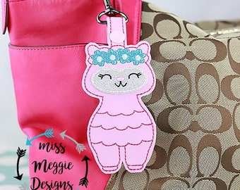 llama flower crown purse charm ITH Embroidery design file