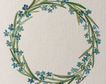 Original Watercolor Forget Me Not Wreath