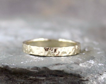 Hammered 14K Yellow Gold Wedding Band - 3mm Wide - Mens or Ladies - Hammered Texture Finish - Classic Wedding Bands - Commitment Rings