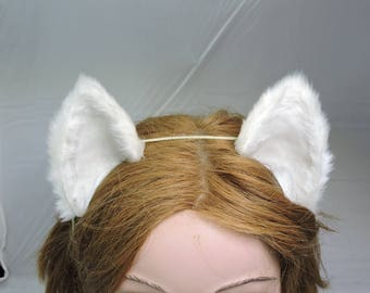 COSPLAY CAT EARS furry wolf fox costume emerald white