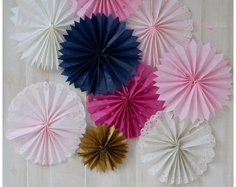 Set of 5 Tissue Fans Rosettes Hanging Tissue Pinwheels COLORS of your CHOICE Medallions Party Decoration photo prop table backdrop