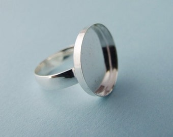 Sterling Silver Round Bezel-style Ring Blank (Sized)