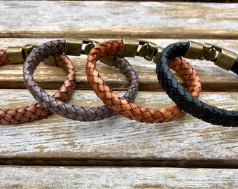Flat Braided Leather Bracelet 8 Ply Flat Braided  Mens Bracelet Mens Jewelry Mens Gift Womens Bracelet Gift Under 20 CS-40 Bronze Clasp