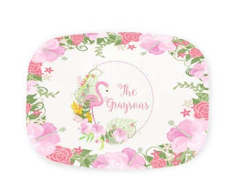 Floral Flamingo Serving Tray - Personalized Melamine Platter - Pink Flamingo Platter - Preppy Flamingo Decorative Tray