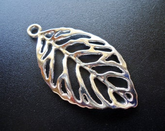 """Large Bright Silver Leaf Pendants - 1 7/8"""" Tall x 1"""" Wide"""