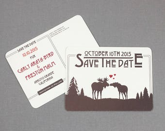 Kissing Moose Save the Date Postcards