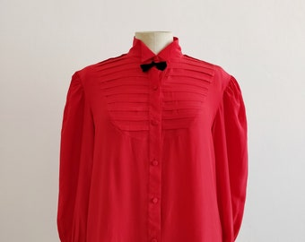 80s red silk blouse with pleated plastron