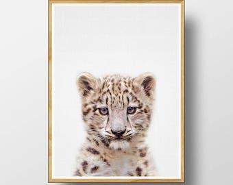 Snow Leopard Cub Print, Nursery Animal Print, Nursery Animals, Nursery Printable, Nursery Art Print,  Animal Print, Printable Wall Art