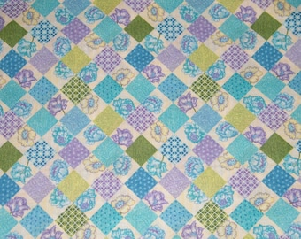 BTY Turquoise & Lavender ARGYLE Print 100% Cotton Quilt Crafting Fabric by Yard