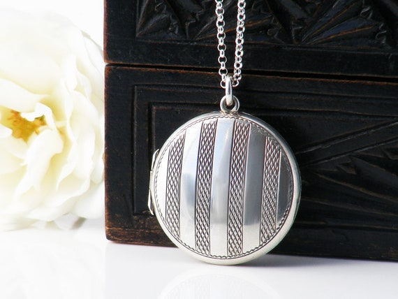 Antique Locket | Pin Striped Minimal Sterling Silver Locket | Round Silver Photo Locket Necklace | Edwardian Era - 20 inch Sterling Chain