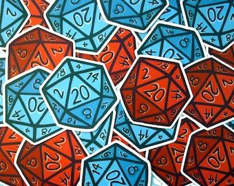 D20 Dice Sticker -  Gaming Vinyl Stickers / Tabletop RPG Sticker / Laptop Sticker / Illustrated D20 / Large Sticker / Die Cut / Geek Gift