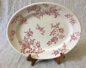 Vintage Churchill Antique Pink Rose Oval Serving Platter