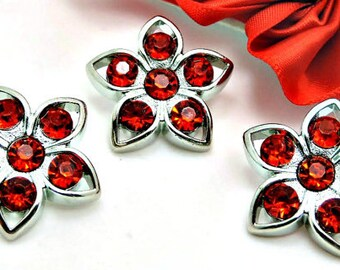 RED Flower Acrylic Rhinestone Buttons Diy Embellishments Garment Buttons Wedding Coat Fashion Buttons Button Bouquets 26mm 3103 3R