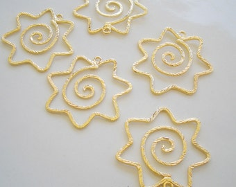 4pcs of gold spiral earring finding 26x25mm
