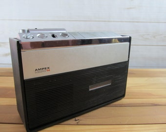 Vintage Ampex Cassette Player/Recorder with Microphone, Made in Japan